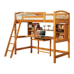 Coaster - Coaster Twin Wood Loft Bunk Bed with Workstation in Natural Finish - Coaster - Bunk Beds - 460053 - When work space is hard to come by simply transform sleeping space into work space with the Coaster Twin Size Natural Workstation Loft Bunk Bed. Constructed of high quality hardwood with a natural finish this loft bed is sure to add class and sophistication to any bedroom. The spacious desk area features numerous shelves for organization and a pullout keyboard tray. Add style and practicality together and the result is the Coaster Twin Size Natural Workstation Loft Bunk Bed.