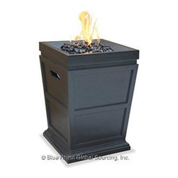 "Blue Rhino - UF LP Gas Column Firepit - Uniflame Outdoor LP Gas Fireplace with Decorative Slate Finish and Faux Stone Construction; Hidden Control Panel with Electronic Ignition; Includes Black Glass; Simple Assembly - No Tools Needed; LP Gas Tank Not Included; Multi-Spark Electronic Ignition; 30 000 BTU's; 19.7"" x 19.7"" x 31.1"".  This item cannot be shipped to APO/FPO addresses. Please accept our apologies."