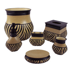 Sherry Kline - Sherry Kline 'Zuma' Bath Accessory 6-piece Set - This six-piece accessory set has a zebra striped pattern. It includes soap dish,tumbler,toothbrush holder,lotion dispenser,tissue holder,and waste basket. With its black and taupe coloring,this set matches similar schemes. Enjoy its modern display.