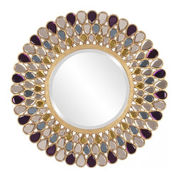 Howard Elliott - Grace Round Amethyst, Amber and Topaz Glass Mirror - This Grace Mirror has a jewel-inspired frame featuring Amethyst, Amber & Topaz Glass Teardrops.