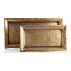 Kathy Kuo Home - Athens Rectangle Hammered Antique Brass Iron Trays - Set of Two - Serve hors d'oevres and cocktails in style with this set of antique brass trays. Their hammered detailing and distressed finish makes these feel like special occasion pieces, but their iron construction means they'll be your go-to platters. Or, use these as a glamorous depository to keep track of your keys and other essentials in your foyer.