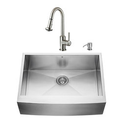 """VIGO Industries - VIGO All in One 30-inch Farmhouse Stainless Steel Kitchen Sink and Faucet Set - Modernize the look of your entire kitchen with a VIGO All in One Kitchen Set featuring a 30"""" Farmhouse - Apron Front kitchen sink, faucet, soap dispenser, matching bottom grid and sink strainer."""