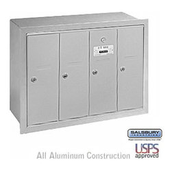 Salsbury Industries - Vertical Mailbox - 4 Doors - Aluminum - Recessed Mounted - USPS Access - Vertical Mailbox - 4 Doors - Aluminum - Recessed Mounted - USPS Access