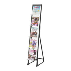 Safco - In View Freestanding Literature Display in Black - Provide reading materials for guests, customers and patients with this freestanding display rack. Black framing incorporates acrylic holders to keep magazines securely in place. It can also hold catalogs and sales materials for trade show booths or in lobbies and showrooms. Five acrylic pockets. Sturdy steel legs support a lightweight aluminum frame and acrylic pockets. Use one unit alone or several together for a larger display. 5 lbs. compartment capacity. Aluminum frame. Acrylic pockets. Compartment: 9.50 in. W x 1.75 in. D x 11.75 in. H. Overall: 21.50 in. W x 12 in. D x 65.75 in. H (13 lbs.). Assembly InstructionGet literature, pamphlets, brochures and magazines In-View of your guests! Whether it's for your guests in the reception area, waiting room, conference room, meeting areas, trade show booth, the lobby, foyer or entrance way or for your internal employees at a print station, lounge area, lunch or break room, mail room, supply room, classroom, media center, library or even your office, every piece of literature and magazine will have a perfect place to be displayed. Put your message In-View! Five acrylic pockets display literature prominently in a variety of settings from trade show booth to reception area. The stylishly contoured lip keeps literature in place without obscuring the covers, to make selection quick and easy. Powder coat finish prevents fingerprint smudges and resists wear and tear.