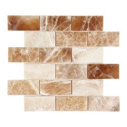 Stone & Co - Crema Caramel Onyx Polished 2x4 Brick Mosaic Tile - Finish: Polished