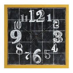 """IMAX - Mitchell Wall Clock - A fun addition to any room, the Mitchell Wall Clock features a face painted to look like a chalk board drawing. With it's bright yellow frame and quirky numbering, this clock will make you smile while you pass the time. Item Dimensions: (24""""h x 24""""w x 1.75"""")"""
