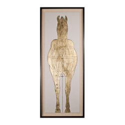 Kathy Kuo Home - Lord Helford Global Bazaar Gold Leaf Horse Front Wall Art - Framed - Bold and contemporary, you'll want to display this luxe figure study front and center. Hand leafed in gold, then silk-screened for incredible detail, it's a powerful piece of artwork that's really perfect for anyone, but especially meaningful if you are enamored with our equine friends.