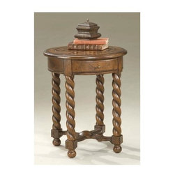 Butler - Round Accent Table in Castlewood Finish with Braided Legs - Well crafted, round, hardwood accent table in Castlewood finish, choice veneers offers a gorgeous inset parquet design top for a phone, book or collectibles. Mini drawer with antique brass finished hardware provides handy storage. Four distinctive, braided, sturdy wooden legs lend elegance.