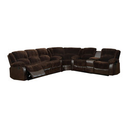 Furniture of America - Cerrik Sectional Sofa Upholstered in Brown Champion Fabric and Leatherette - Traditional style sectional sofa upholstered in brown with console in loveseat.