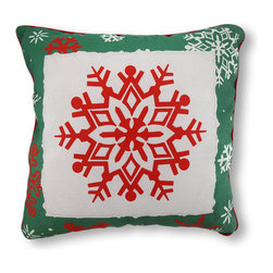 Reversible Winter Crisp Red and Green Snowflakes Pillow 18 In. - This very merry pillow adds a dash of holiday cheer to chairs, sofas, and beds in your home, and if you get bored with the design, you can just flip it over and enjoy the other side for the rest of the season. It is made of 100% polyester, from the cover to the soft stuffing, and it measures 18 inches by 18 inches. Recommended care instructions are to spot clean, only. This pillow makes a great gift that is sure to be loved, year after year. Made in the U.S.A.