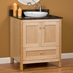 "30"" Alcott Vanity for Semi-Recessed Sink - Fashioned in the Shaker design, this small vanity features smooth, simple and symmetrical lines and visible wood grain. The 30"" Alcott Vanity for Semi-Recessed Sink is handcrafted out of solid American hardwood."