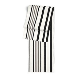 Black, Grey & White Stripe Custom Table Runner - Get ready to dine in style with your new Simple Table Runner. With clean rolled edges and hundreds of fabrics to choose from, it's the perfect centerpiece to the well set table. We love it in this white, black and gray outdoor stripe that's just hankering for those wide open spaces.