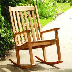 Three Birds Brittany Teak Rocking Chair - There is something about rocking back and forth that calms the nerves and is soothing to the spirit.  Three Birds uses the highest quality teak and superior craftsmanship to create this high back Teak Rocking Chair.