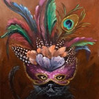 """Black Enchanted Cat With Mardi Gras Mask"" (Original) By Viktoria Majestic - Sometimes I Like To Break Away From Reality And Paint Something Different Perhaps Mystical."