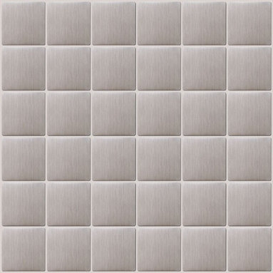 """Susan Jablon Mosaics - Brushed Stainless Steel Tile - This 8mm thick, 2 inch square stainless steel tile has a stylish stainless steel metallic surface. This 2"""" tile is perfect for your kitchen backsplash, as well as being very easy to clean with stainless steel wipes.The construction of this tile is a porcelain core that is wrapped with stainless steel. It can be cut with a wet saw during installation. It is very easy to install as it comes by the square foot on mesh and it is very easy to clean! About a decade ago, Susan Jablon re-ignited her life-long passion for mosaics and has built a customer-focused, artist-driven, business offering you the very best in glass and decorative tiles and mosaics. We are a glass tile store committed to excellence both personally and professionally. With lines of 100% SCS Qualified recycled tile, 12 colors and 6 shapes of mirror, semi precious turquoise stones from Arizona mines, to color changing dichroic glass. Stainless steel tiles in 8mm and 4mm and 12 designs within each, and anything you can dream of. Please note that the images shown are actual photographs of the tiles however, colors may vary due to the calibration of each individual monitor. Ordering samples of the tiles to verify color is strongly recommended. Please note that the images shown are actual photographs of the tiles. Ordering samples of the tiles is strongly recommended."""