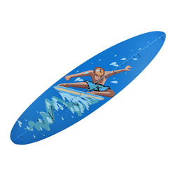 n/a - Children`s Blue Surfboard Growth Chart Wall Hanging - This surfboard growth chart is a fun, decorative alternative to pencil marks in a door jamb to track your child`s growth spurts. Made of cold cast resin, it measures 39 1/2 inches long, 9 1/2 inches wide, and 3/4 of an inch thick. It features cool surfer catching some waves in the center, and measures heights from 3-6 feet tall. This piece easily mounts to the wall with 2 nails or screws by the built-in hangers on the back.