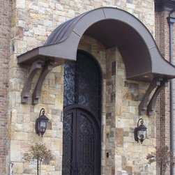 "Wrought Iron Doors - A Signature Entry ""Stonehenge Contemp"" ... Iron on Stone"