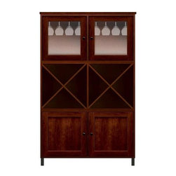 Howard Miller Custom - Ava Cabinet w 2 Shelves in Newport Cherry - This cabinet is finished in Newport Cherry on select Hardwoods and Veneers, with Antique Bronze hardware. 2 doors with plain Glass and 2 inset panel doors. 2 storage shelves. 2 adjustable interior shelves and 2 stemware racks. Flat profile top and metal leg base. Hardware: Antique Bronze knobs on doors. Features soft-close doors and metal shelf clips. Simple assembly required. 47 1/4 in. W x 17 in. D x 78 in. H
