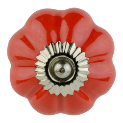 Knob Lovers - Cerise Knob - Make your room POP with this red Cerise knob. This ceramic knob is set upon a silver mount and the glamorous red color is sure to shine when the lights hit it. Cerise is topped with a silver cap.