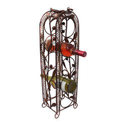 ecWorld - Casa Cortes Handcrafted 5-Bottle Metal Wine Holder Rack Barware - Rusted Red - This exquisite piece of wrought iron art is functional and allows you to display your favorite wine in style.