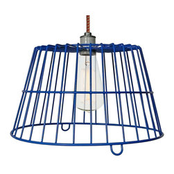 Manhattan Project Design Shop - The Inwood Lamp - Make a truly modern statement with your lighting when you hang this unique pendant lamp from your ceiling. This hand assembled, artisan-made lamp features a vivid re-purposed blue farm egg basket shade. Add wit and whimsy to your decor with this industrial-chic lamp, which includes eight feet of stylish cotton cording in your choice of colors.