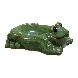 Alpine Fountains Ceramic Frog Birdbath And Feeder Use