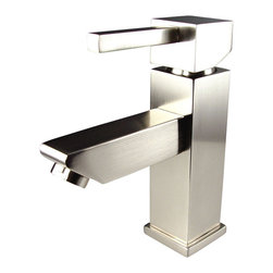 Fresca - Fresca Versa Single Hole Mount Bathroom Vanity Faucet - Brushed Nickel - This single hole faucet is made from heavy duty brass with a brushed nickel finish.  Features ceramic mixing valve for longevity and watertight functionality.