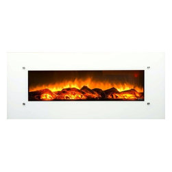 "Touchstone Home Products - Touchstone Home Products Electric Fire Place - The Touchstone Ivory is a beautiful, 50"" wide, electric fireplace with realistic flames and contemporary white frame that will make a strong design statement in your living room, family room or any room in your home. The electric fireplace delivers the beauty of a fireplace without the fire and smokey smell. The Ivory has 2 heat settings (high and low), and will heat a room up to 400 sq. ft.. Also, the fireplace's flame can can be used without the heating feature."