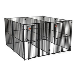 Lucky Dog - Lucky Dog European Style 2 Run Modular Kennel with Common Wall Multicolor - CL65 - Shop for Dog Crates and Kennels from Hayneedle.com! Our European Panel system is the Best of the Best when it comes to safe containment for your pet. The clean lines of the panels - no sharp edges and Black Powder coat finish are perfect for any setting. Individual Panels & Gates are 5ft Wide & 6ft High. With 2 1/2 in. vertical upright spacing - this panel MAY NOT be ideal for your Smaller breed and/or Puppy - however it is suitable for all other Dog Containment needs. Always insure your Pet is properly trained to enjoy their personal kennel - prior to use. This Modular panel system allows you to customize your layout to suit your pets needs for comfort.