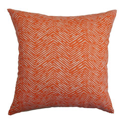 The Pillow Collection - Edythe Zigzag Pillow Orange - Get this zigzag pillow and make your interiors more interesting. This accent pillow comes with a popping orange color which is great for your living room or bedroom. This 100% cotton-made throw pillow make your home look cozy, inviting and modern. This square pillow can easily be paired with other patterns like geometric, stripes, zigzags and more. Hidden zipper closure for easy cover removal.  Knife edge finish on all four sides.  Reversible pillow with the same fabric on the back side.  Spot cleaning suggested.