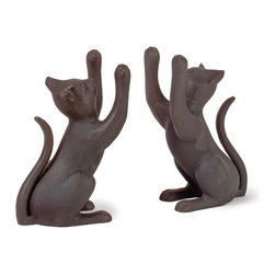 """IMAX CORPORATION - Cat Bookends - Set of 2 - Transitional, Black Curious Cat bookends. Set of 2 in various sizes measuring around 16""""L X 8""""W X 10.25""""H each. Shop home furnishings, decor, and accessories from Posh Urban Furnishings. Beautiful, stylish furniture and decor that will brighten your home instantly. Shop modern, traditional, vintage, and world designs."""