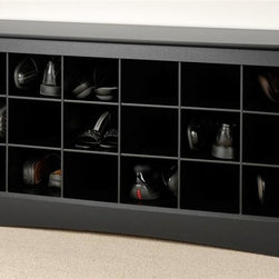 Prepac - Shoe Storage Cubbie Bench in Black - Includes an instruction booklet for easy assembly. Dual-purposed and versatile. Great addition to your foyer, mudroom, utility room or bedroom. Eighteen individual cubbies. Hold pair of size 13 mens shoes. 5-year manufacturers limited warranty on parts. Made from CARB-compliant, laminated composite woods with a sturdy MDF backer. Made in North America. Assembly required. Weight Capacity: 200 lbs.. Internal Cubbie: 6.75 in. W x 13.75 in. D x 5.5 in. H. Overall: 48 in. W x 16 in. D x 24 in. HStore your shoes where you put them on with our Shoe Storage Cubbie Bench. Each of the 18 individual cubbies is spacious enough to hold a pair of size 13 mens shoes, keeping them neatly stored and out of the way. Its the perfect piece to keep your shoes organized.