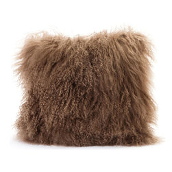 Moe's Home Collection - Moe's Home Lamb Fur Pillow in Natural (Set of 2) - Soft furry decorative cushion