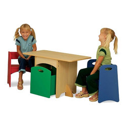 Table With Primary Benches by Kidkraft - With bright colors and space-saving convenience our new Table with Primary Benches is the perfect place for arts crafts and board games. When not in use the benches and storage bin fit neatly beneath the table.