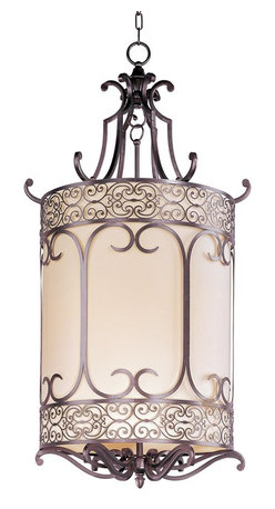 Maxim Lighting - Maxim Lighting Mondrian Entry Transitional Foyer Light X-BUHW85112 - When the light is on, the intricate forged-iron frame of this Transitional Foyer Light creates a remarkable lighting effect that will make a lasting impression on those who see it.  With its Umber Bronze Finish, delicate pattern, and striking curves, this Mediterranean inspired light fixture will offer any home a warm and welcoming atmosphere.