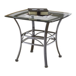 Hillsdale - Hillsdale Abbington Glass End Table - Hillsdale - End Tables - 4885OTE - The Hillsdale Abbington Square End Table is elegantly contemporary with a sleek eye-catching design. It has a glass top with curved legs and a classic metalwork design. This practical and adaptable end table will be will be a natural fit in any room in your home.