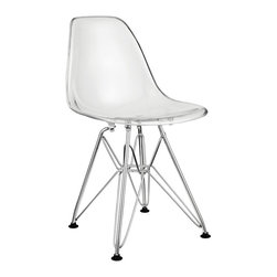 """Modway Furniture - Modway Paris Kids Chair in Clear - Kids Chair in Clear belongs to Paris Collection by Modway Introduce your kids to mod while they explore the effects of gravity. Instead of being impressed by the chair's famously deep seat pocket and stylish design, kids will find it more compelling to try and balance themselves on as few legs as possible. The next generation knows why this chair was originally called the chair of """"tomorrow."""" Because it's boring to sit on stationary object that doesn't do anything. Set Includes: One - Kids Paris Wire Side Chair Kids Chair (1)"""