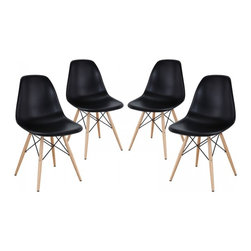 Modway Imports - Modway EEI-1316-BLK Pyramid Dining Side Chairs Set of 4 In Black - Modway EEI-1316-BLK Pyramid Dining Side Chairs Set of 4 In Black