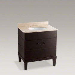 KOHLER - KOHLER Evandale(R) 3-piece vanity - With a classic look that complements a wide range of styles, the Evandale vanity combines sink, counter, and wood cabinetry in one easy-to-install piece. The stone countertop includes a backsplash to help protect the wall from water damage. The cabinet's