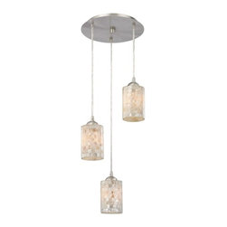 Design Classics Lighting - Multi-Light Pendant Light with Mosaic Glass and 3-Lights - 583-09 GL1026C - Country / cottage satin nickel 3-light mini-pendant light. Takes (3) 100-watt incandescent A19 bulb(s). Bulb(s) sold separately. UL listed. Dry location rated.