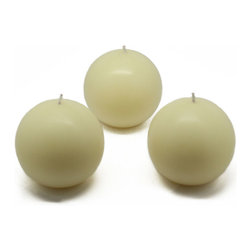 """Jeco - 3"""" Ivory Ball Candles - 6pc/Box"""" - """"Small 2 inch Ball candles have been around for a while but often unnoticed. Spruce up your room with these sphere candles and enjoy the dimensions it creates. These unscented sphere candles burn exceptionally long and have solid color all the way through."""