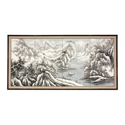 Oriental Unlimited - 36 in. Tall Snowy River Wall Art - The Snowy River scene is extraordinary, with snow capped mountains, cliffs and a broad river fading into the background. Subtle and beautiful hand-painted wall art for a fraction of the cost of a comparable print. Large hand-painted ink and watercolor silk screen. Song dynasty (10th century China) brush art style. Can be displayed as a privacy screen. Can be folded partly to stand upright on a table or floor. Crafted from silk covered paper, glued over 4 side-by-side lacquered wood frames. Matted with a fine Chinese silk brocade border. Comes with lacquered brass geometric hangers for easy mounting. Note that no 2 renderings are exactly the same. 72 in. W x 0.63 in. D x 36 in. H