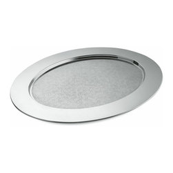 """Alessi - Alessi """"Ovale Cesellato"""" Oval Tray - Pass the buck, pass the test, and pass the stone, but don't pass the chance to pass the hors d'oeuvres on this gorgeous platter. It's made of high quality, stainless steel with a mirror-polished rim and an interior in a lacy matte finish. It's more than 22-inches long and 18-inches wide, so there won't be much to pass you by with this one."""