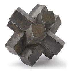 Kathy Kuo Home - Risom Industrial Loft Abstract Zinc Sculpture - Reminiscent of the early 20th century modern sculptural works by Brancusi, this geometric abstract sculpture makes a great decorative display piece or the paperweight for a super stylish office.