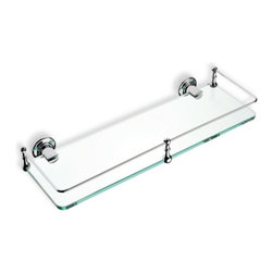 "StilHaus - Clear Glass Bathroom Shelf, Chrome - 16"" clear glass shelf. Mounting holder made of brass. Available in 3 finishes. 16 inch glass shelf. Made of brass with clear glass. Available in Chrome, Bronze, or Gold finish. From StilHaus Smart Collection."