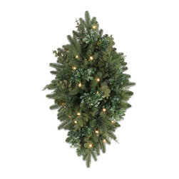 """Balsam Hill - 30"""" Balsam Hill® Fraser Fir Meadow Artificial Christmas Swag - With its soft evergreen needles, the popular Fraser fir inspired our designers to create the exquisite 30"""" Fraser Fir� window and mailbox swag. Sprigs of eucalyptus, cypress, and boxwood accents rest upon a bed of lifelike foliage, accentuating the swag with nuanced shades of texture and color. Our hand-crafted mailbox swags have been featured on TV shows such as """"Ellen"""" and """"The Today Show"""" and are a recipient of the Good Housekeeping Seal of Approval. Balsam Hill swags hang beautifully, are made of flame-retardant and non-allergenic materials, and are covered by our popular 5-year foliage and 3-year light warranties. Free shipping when you buy today!"""