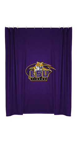 Sports Coverage - NCAA Louisiana State Tigers College Bathroom Shower Curtain - Features: