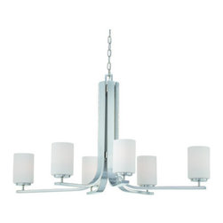 Thomas Lighting - Thomas Lighting SL8069 6 Light Single Tier Chandelier with Etched Glass Shades f - Contemporary / Modern 6 Light Single Tier Chandelier with Etched Glass Shades from the Pendenza CollectionFeatures: