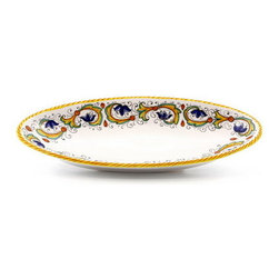 Artistica - Hand Made in Italy - Perugino: Small Oval Tray - Perugino Collection: The Perugino pattern is an Artistica's exclusive. It was inspired by the Deruta's classic Raffaellesco a design that traces his origins from the XVI Century graceful arabesques of painter Raphael famous frescoes.