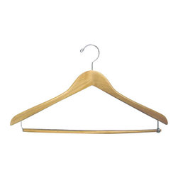 Proman - Gemini concave Suit Hanger with Lock Bar - Gemini-concave suit hanger with lock bar,natural lacquer, chrome, 50pcs/case. Concave suit hanger. W/ lock bar with chrome hardware.